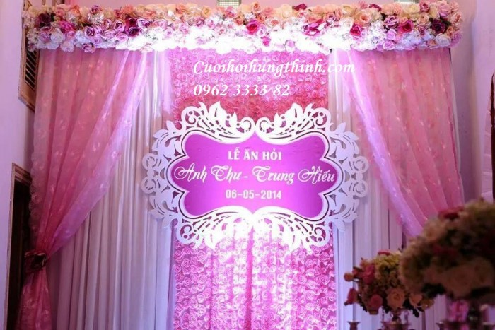 trang trí phông cưới hỏi - thuê phông lụa